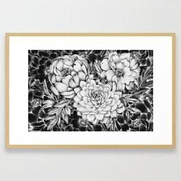 Dahlias & Peonies Black Framed Art Print