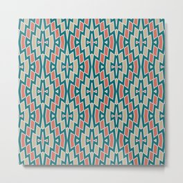 Fragmented Diamond Pattern in Teal, Coral and Tan Metal Print