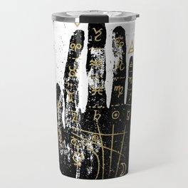 Palmistry, chiromancy. Black hand on a white textured background. Travel Mug