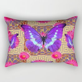Purple Butterflies Pattern Purple-Pink Flowers Gold Art Rectangular Pillow