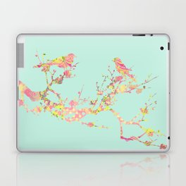 Love Birds on Branch Vintage Floral Shabby Chic Pink Yellow Mint Laptop & iPad Skin