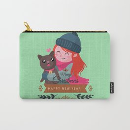 Happy Girl Hugging Her Cat. Carry-All Pouch