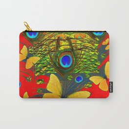 GREEN PEACOCK FEATHERS YELLOW BUTTERFLIES ON  RED ART Carry-All Pouch