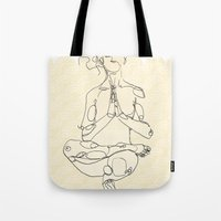 yoga Tote Bags featuring Yoga by Timoismen
