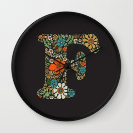 Hippie Floral Letter F Wall Clock