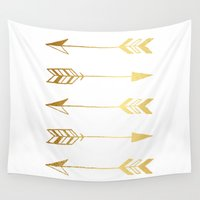 gold foil Wall Tapestries featuring Faux gold foil arrows by Jaclyn Rose Design