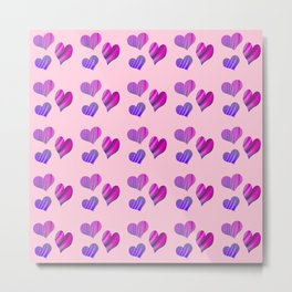 Hearts with Structure (pink) Metal Print