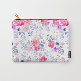 Pink lavender watercolor hand painted roses floral Carry-All Pouch
