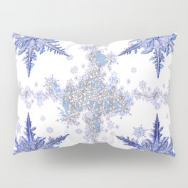 DECORATIVE WINTER WHITE-BLUE CRYSTAL SNOWFLAKES HOLIDAY ART Pillow Sham