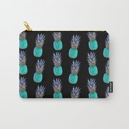 Aqua Pineapple Pattern on Black Carry-All Pouch