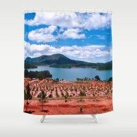 vietnam Shower Curtains featuring Lake - Central Highland - Vietnam by CAPTAINSILVA