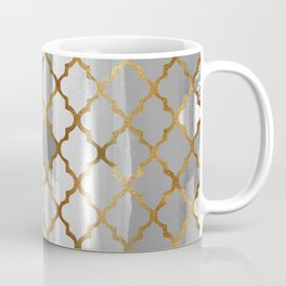 Moroccan Tile Pattern In Grey And Gold Coffee Mug