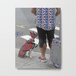 Dog and Master Patterned Metal Print