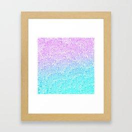 White mandala henna pattern illustration Mermaid purple turquoise watercolor floral pattern Framed Art Print