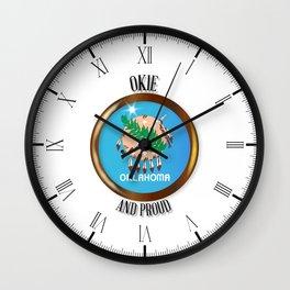 Oklahoma Proud Flag Button Wall Clock