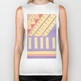 Lilac n Rose Geometry on Buttercream - from the Lilac Buttercup colour palette collection Biker Tank