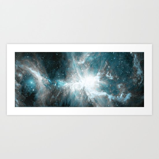 Orion Nebula Teal Gray Galaxy Art Print