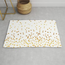Floating Dots - Gold on White Rug