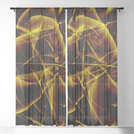 Glowing web of gold cosmic lines of energy and a mystical smoke screen on a black background. Sheer Curtain