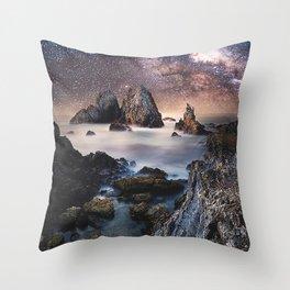 Milky Way Stars Sea Coast Throw Pillow
