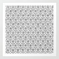 Hand Drawn Hypercube Art Print