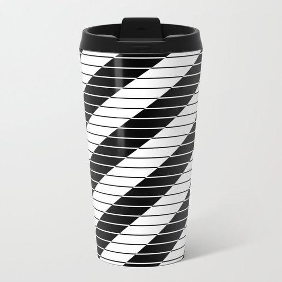 Simply Black And White (Abstract, geometric design) Metal Travel Mug