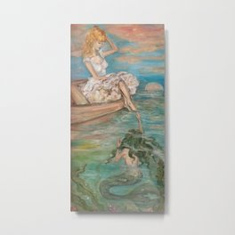 could we be friends? Bffs bestfriends mermaid and beautiful lady boat on the ocean at sunset Metal Print
