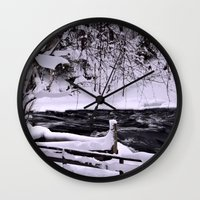 finland Wall Clocks featuring Winter in Finland by Guna Andersone & Mario Raats - G&M Studi