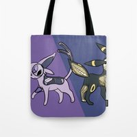 umbreon Tote Bags featuring Espeon & Umbreon Anatomy by Logan Niblock