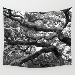Live Oak Tree - black and white Wall Tapestry