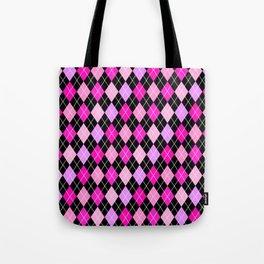 Pink Lavender Black Argyle Tote Bag