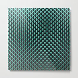 Chain Link Gleaming Aqua Green Metal Pattern Metal Print