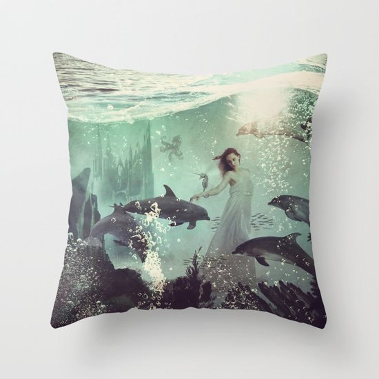 The Sea Unicorn Lady Throw Pillow