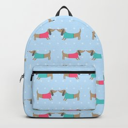 Cute dog lovers with dots in blue Backpack