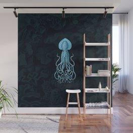 Squid1 (Blue, Square) Wall Mural