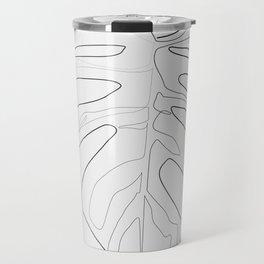 """Botanical Collection"" -  Monstera Print Grey Background Travel Mug"