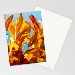 Autumn colors leaves against the blue sky #decor #society6 Stationery Cards