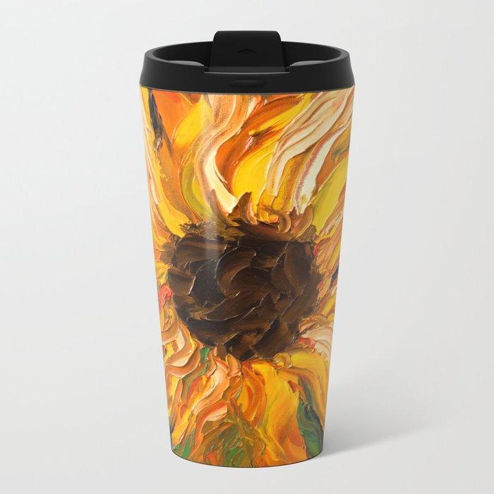 Fiery Sunflower - Original Painting Metal Travel Mug