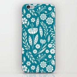 Blooming Field - teal iPhone Skin