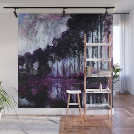 Monet : Poplars Purple Violet Indigo Wall Mural