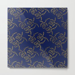 Golden olive branches NAVY Metal Print