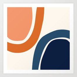 Abstract Shapes 34 in Burnt Orange and Navy Blue Art Print