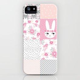 Bunny quilt baby decor newborn nursery charlotte winter pink grey decor for little girl iPhone Case