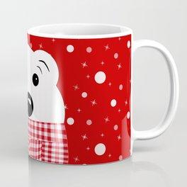 Muzzle of a polar bear on a red background. Coffee Mug