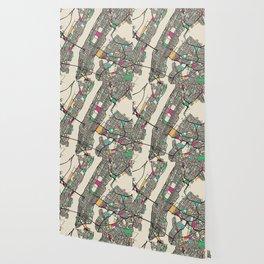 Colorful City Maps: Manhattan, New York Wallpaper
