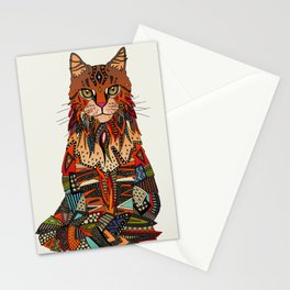 maine coon cat chalk Stationery Cards