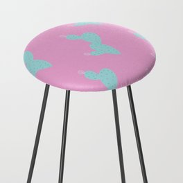 Teal Cactus w/pink background Counter Stool
