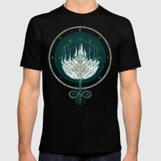 White Dahlia LARGE Mens Fitted Tee Black