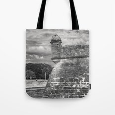 Castillo de San Marcos - black and white Tote Bag