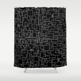 Circuitry - Abstract, geometric, black and white Shower Curtain